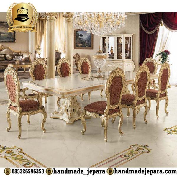 meja makan mewah 8 kursi