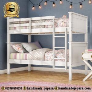 tempat tidur tingkat putih