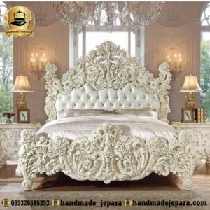 tempat tidur ukiran duco putih-1