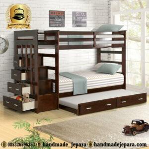 Tempat Tidur Tingkat Jati Modern